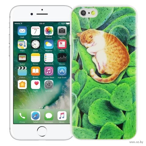 """Чехол для iPhone 6 """"Спящий котик"""" (зелёный) — фото, картинка"""
