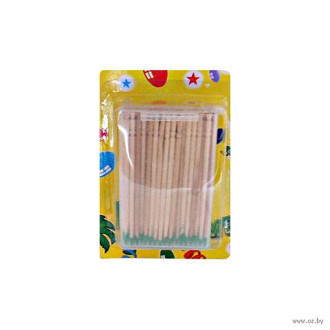 Набор зубочисток деревянных мятных в пластмассовой подставке (100 шт.)