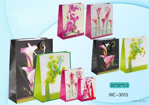 """Пакет бумажный подарочный """"Цветы"""" (в ассортименте; 26х32х11,5 см; арт. МС-3015)"""