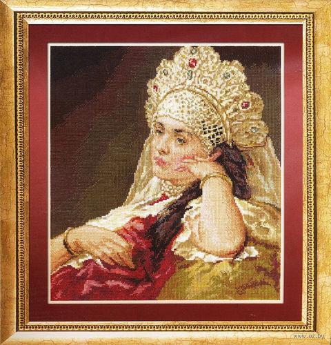 """Вышивка крестом """"Девушка в жемчужном ожерелье"""" (320х365 мм) — фото, картинка"""