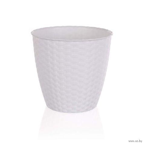Кашпо для цветов пластмассовое (29х26,5 см; белое)