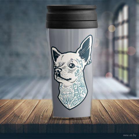 "Термостакан ""Собака с татуировками"" — фото, картинка"