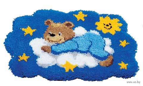 "Вышивка в ковровой технике ""Коврик. Мишка на облаке"" (550х400 мм; арт. 0014358-PN) — фото, картинка"