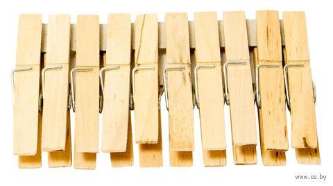 Набор прищепок деревянных (10 шт.; 100 мм) — фото, картинка