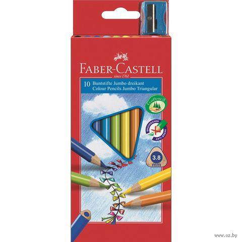 Трехгранные цветные карандаши JUMBO в картонной коробке (10 цветов + точилка)