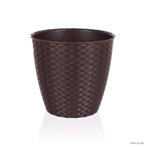 Кашпо для цветов пластмассовое (29х26,5 см; коричневое)