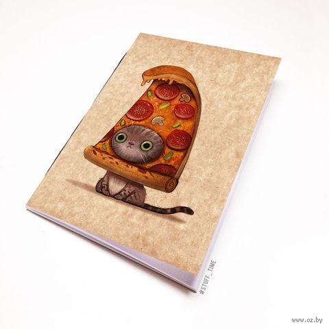 """Блокнот крафт """"Кот-пицца"""" (А5; арт. 954) — фото, картинка"""