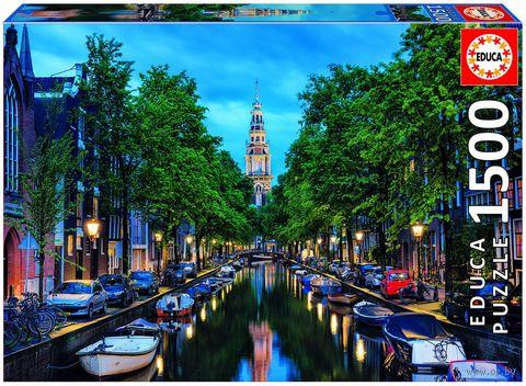"""Пазл """"Сумерки на канале в Амстердаме"""" (1500 элементов) — фото, картинка"""
