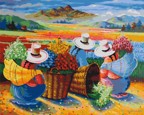 """Картина по номерам """"Сбор урожая цветов в Перу"""" (400х500 мм) — фото, картинка"""