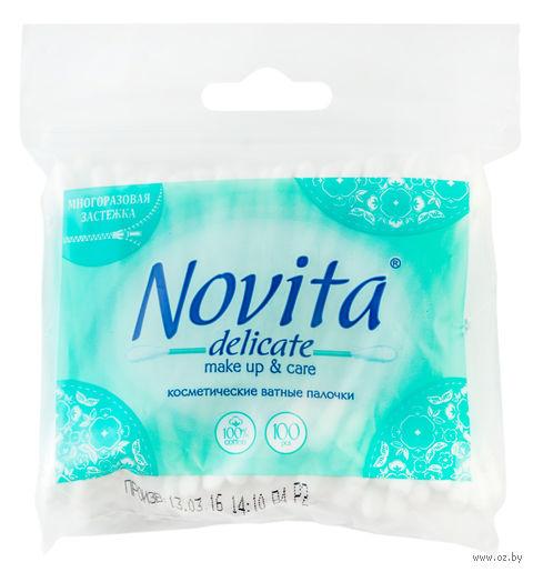 """Ватные палочки """"Novita Delicate"""" (пакет; 100 шт.) — фото, картинка"""