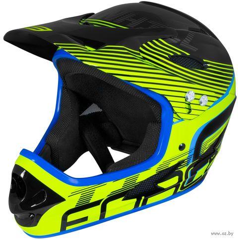 """Шлем велосипедный """"Tiger Downhill"""" (черно-салатовый; арт. 902105) — фото, картинка"""