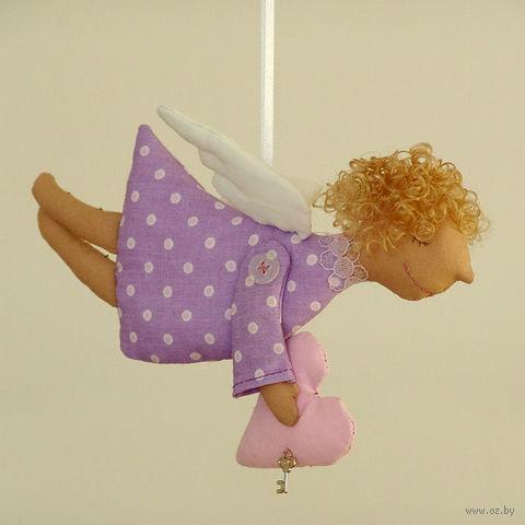 """Кукла ручной работы """"Ангел"""" (сиреневый в горошек)"""