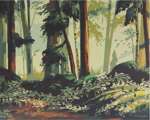 "Картина по номерам ""Опушка на рассвете"" (400x500 мм) — фото, картинка"