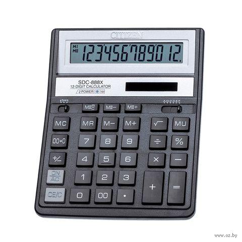 Калькулятор настольный SDC-888XBK (12 разрядов) — фото, картинка