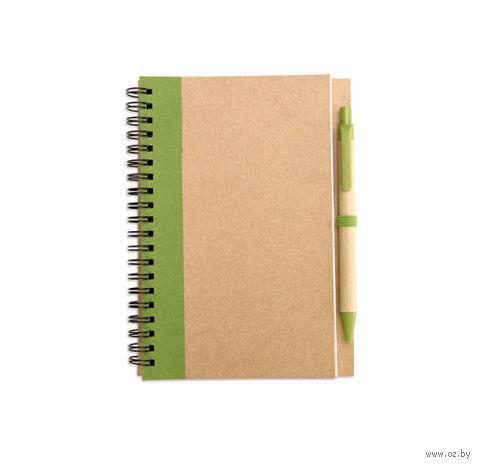 """Блокнот нелинованный с ручкой """"SONORA PLUS"""" А5 (цвет: коричневый/зеленый)"""