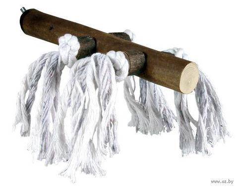 Жердочка для птиц с хлопковыми верёвками (20 см)