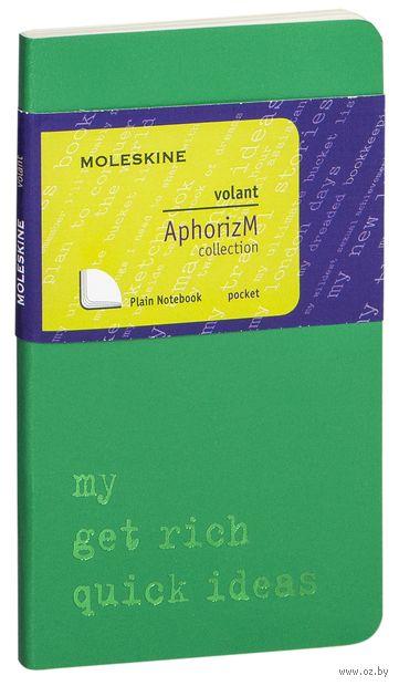 """Записная книжка Молескин """"Volant. My Get Rich Quick Ideas"""" нелинованная (карманная; мягкая светло-зеленая обложка)"""