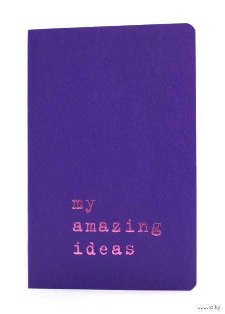 """Записная книжка Молескин """"Volant. My Amazing Ideas"""" нелинованная (карманная; мягкая пурпурная обложка)"""