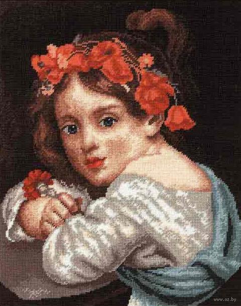 """Вышивка крестом """"Девочка в малиновом венке"""""""