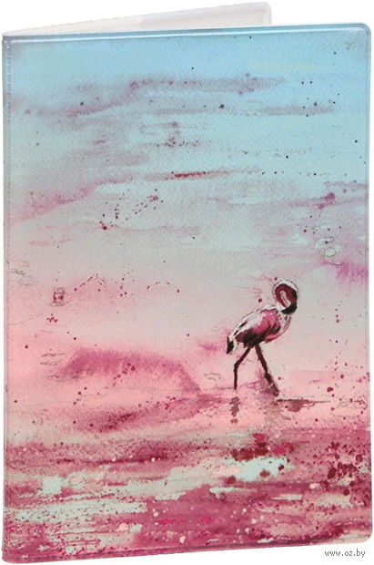"""Обложка на паспорт """"Фламинго"""" (арт. KW064-000288) — фото, картинка"""