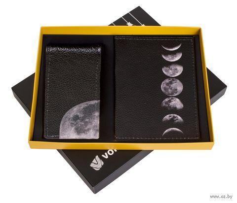 "Подарочный набор ""Луна"" (обложка на паспорт и кредитница) — фото, картинка"