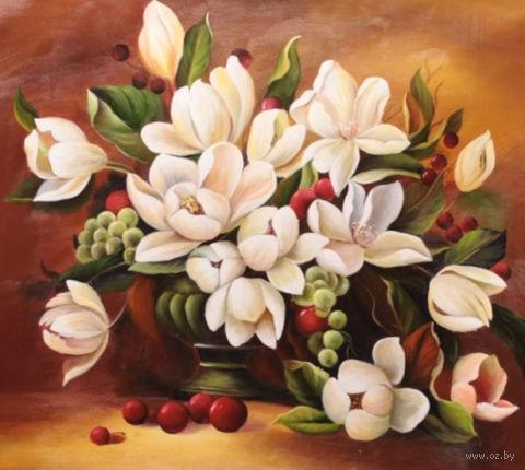 """Алмазная вышивка-мозаика """"Букет белых цветов"""" (500х410 мм) — фото, картинка"""