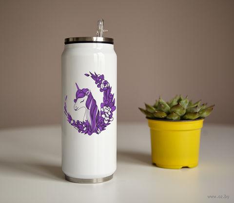 "Банка ""Фиолетовый единорог"" (350 мл) — фото, картинка"