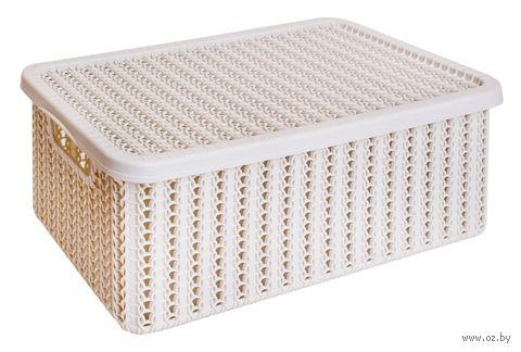 """Ящик для хранения с крышкой """"Вязание"""" (12,5x19,5x35 см; белый) — фото, картинка"""