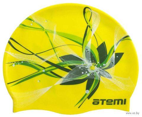 Шапочка для плавания (жёлтая; цветок; арт. PSC414) — фото, картинка