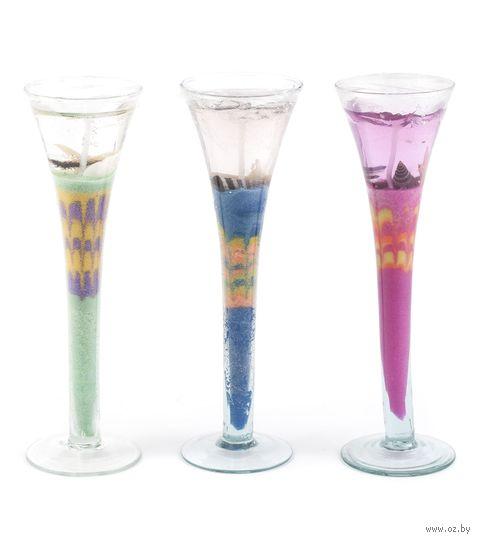 Подсвечник стеклянный со свечой гелевой ароматизированной (20 см; арт. WH758)