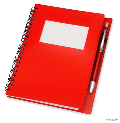 """Блокнот в линейку """"Контакт"""" с ручкой (А5; красный) — фото, картинка"""