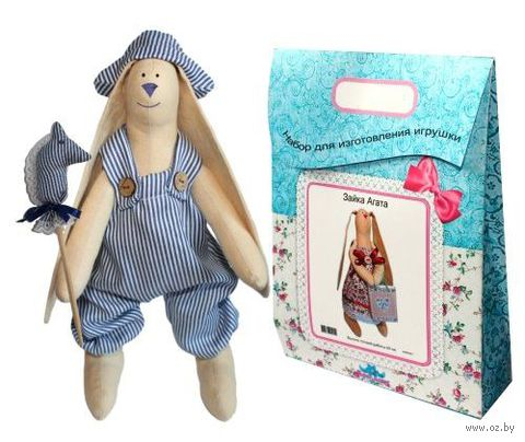 """Подарочный набор для шитья из ткани """"Кукла. Зайка Илюша"""""""