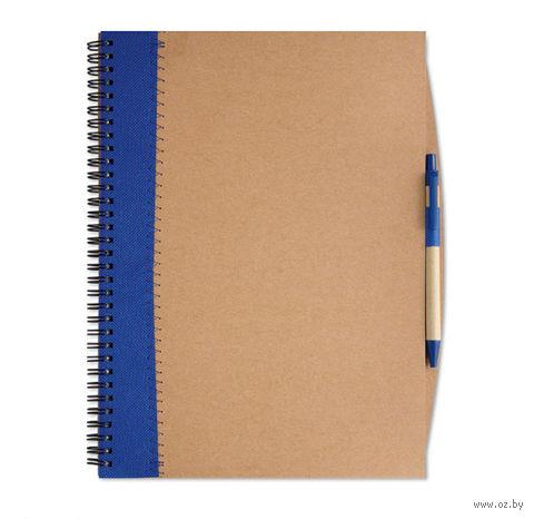 """Блокнот нелинованный с ручкой """"PAPIROS"""" А4 (цвет: коричневый/синий)"""