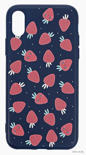 """Чехол для iPhone X/XS """"More berries"""" (тёмно-синий) — фото, картинка"""