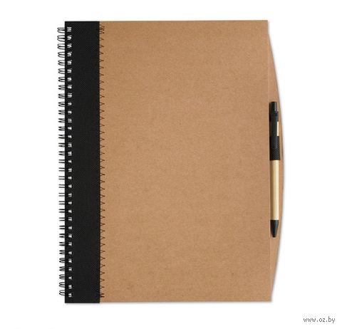 """Блокнот нелинованный с ручкой """"PAPIROS"""" А4 (цвет: коричневый/черный)"""