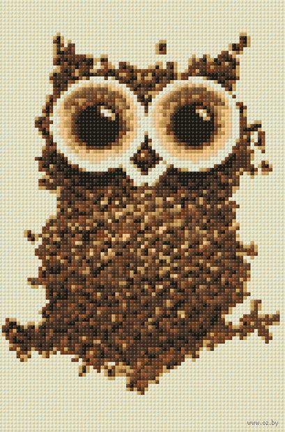"""Алмазная вышивка-мозаика """"Кофейная сова"""" (200х300 мм) — фото, картинка"""