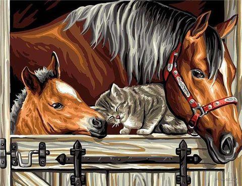 "Картина по номерам ""Лошади и котик"" (300х400 мм) — фото, картинка"