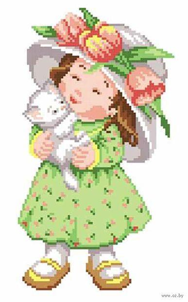 "Вышивка крестом ""Девочка с котенком"" (240х150 мм) — фото, картинка"