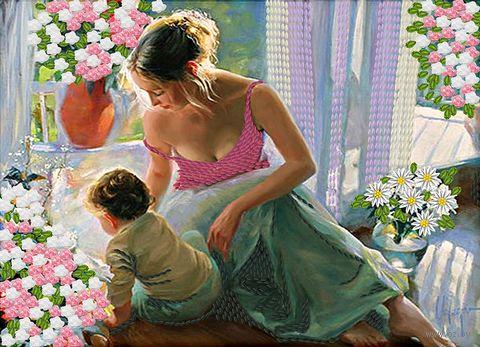 "Вышивка лентами ""Нежность материнства"" (360х260 мм) — фото, картинка"