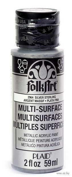 "Краска акриловая ""FolkArt Multi-Surface"" (серебро металлик, 59 мл; арт. PLD-02964)"