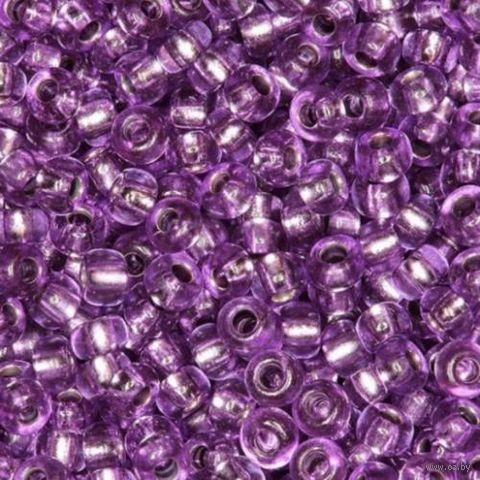 Бисер прозрачный с серебристым центром №08228 (фиолетовый; 10/0)