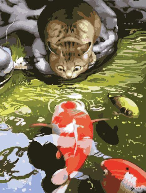 "Картина по номерам ""Кот-рыболов"" (400х500 мм) — фото, картинка"