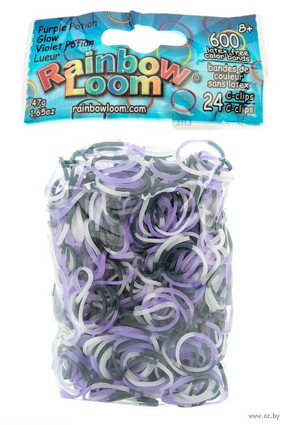 """Набор резиночек для плетения """"Rainbow Loom. Светящиеся в темноте. Фиолетовый"""" — фото, картинка"""