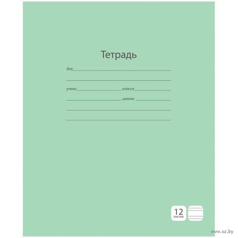 """Тетрадь в узкую линейку 12 листов """"Однотонная. Зеленая"""""""