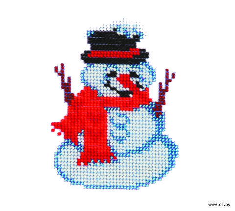 "Вышивка бисером ""Снеговик"""