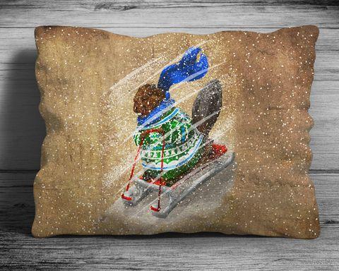 "Подушка ""Бобер на cанках"" (арт. 2; 28x38 см) — фото, картинка"