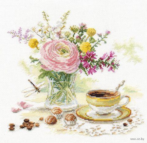 "Вышивка крестом ""Утренний кофе"" (230x220 мм) — фото, картинка"