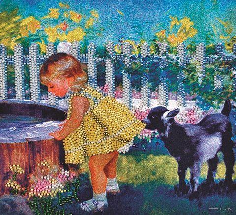 "Вышивка бисером ""Девочка с козленком"" (220х300 мм) — фото, картинка"