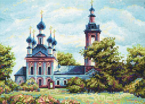 """Алмазная вышивка-мозаика """"Сельский храм"""" (360х260 мм) — фото, картинка"""