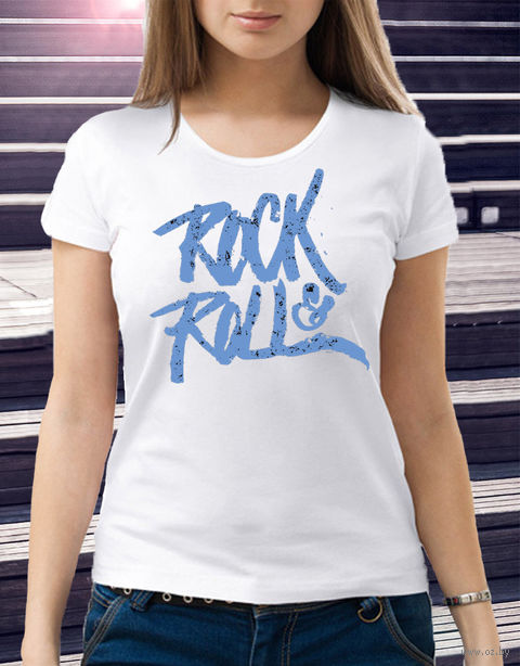 "Футболка женская ""Rock and Roll"" (размер 44; art. 6)"